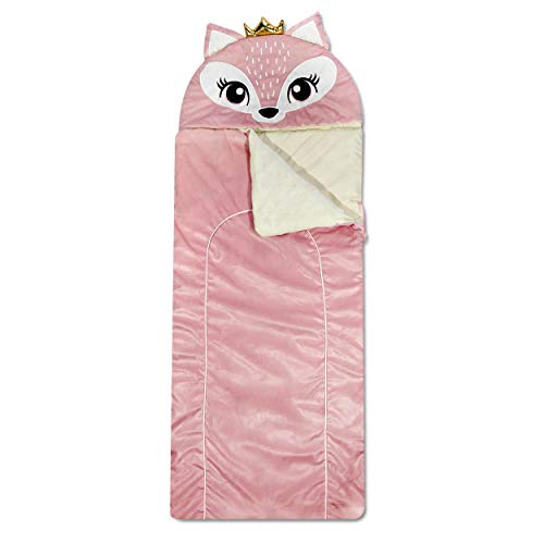 Heritage Kids Pink Fox Plush Hooded Sleeping Bag, 64' L x 25' W