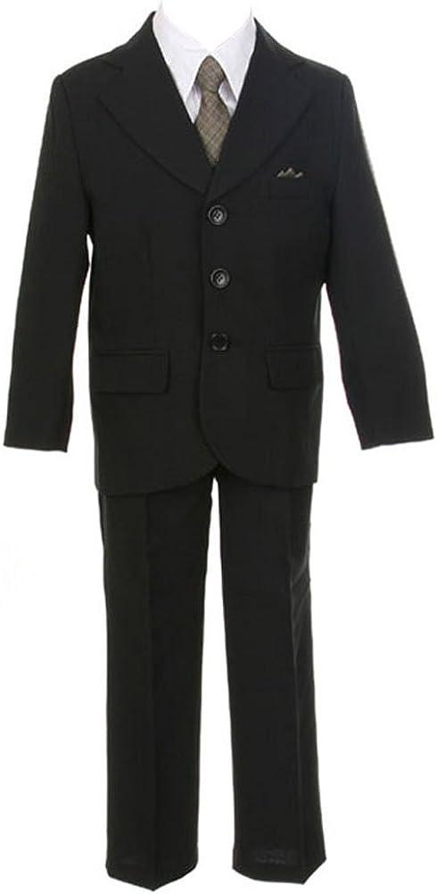 Sweet Kids Boys 3 Button Black Suit 2T Black/Gold (Sk M105A)