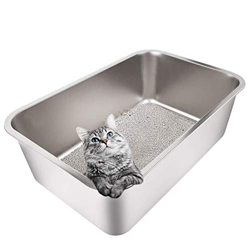 Yangbaga Stainless Steel Litter Box for Cat and Rabbit, Large Size with 8in High Sides and Non Slip Rubber Feet. Odor Control, Non Stick Smooth Surface, Easy to Clean, Never Bend (24'' 16'' 8'')