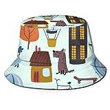 City Houses and Dogs Sombrero de Pescador Sombrero de Playa de Pescador Sombrero de Cubo para Acampar, Picnic