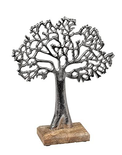 Lifestyle & More Escultura Moderna decoración Figura árbol de la Vida Fabricada en Madera mangho y Aluminio, Altura 27 cm