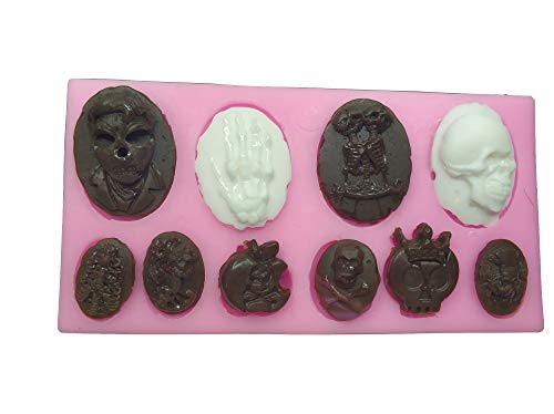 Rubinson-store Skull Skeleton Fondant Silicone Mold Chocolate Mould Baking Cake Decorating Tool Cupcake Decoration Pastry Gumpaste Kitchen Sugarcraft Baking Cooking Cookie Halloween