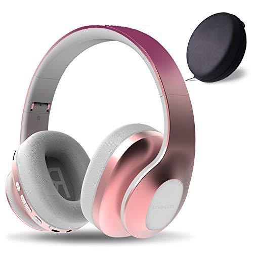 LOBKIN Bluetooth Kopfhörer, Over Ear Faltbare Headsets, Kabellos Stereo Kopfhörer mit Integriertem Mikrofon, TF/SD-Karte, FM Radio für iPhone, Android und PC (Roségold + violetter Farbverlauf)