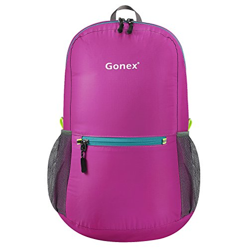 Gonex Ultra Lightweight Packable Backpack Daypack Handy Foldable Camping Outdoor Travel Cycling Backpacking(Rose Red)