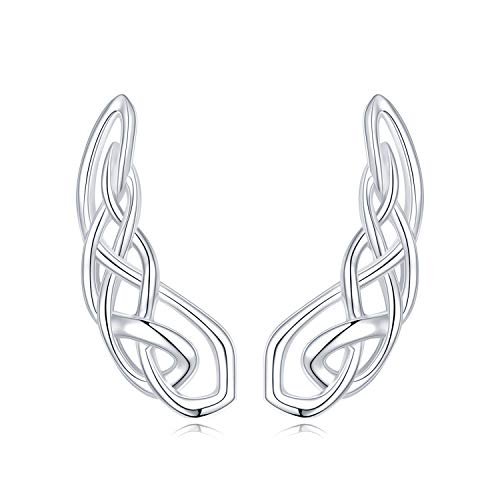 WINNICACA Celtic Knot Earrings Ear Climber Earrings for Women 925 Sterling Silver Ear Crawler Cuff Earrings Crawler Earrings for Women