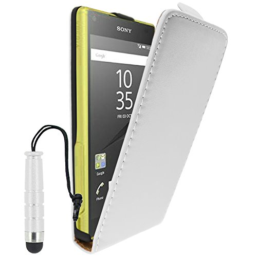 ebestStar - Funda Compatible con Sony Xperia Z5 Compact Carcasa Ventana Vista Cover Cuero PU, Funda Libro Billetera + Mini Lápiz, Blanco [Aparato: 127 x 65 x 8.9mm, 4.6'']