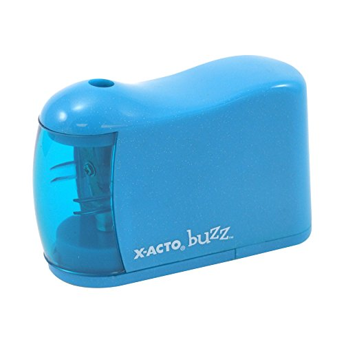 X-Acto 2012685 Buzz Battery Pencil Sharpener, Assorted Colors, Safety Shut-off When Receptacle is Removed, Steel Razor Cutter, Color May Vary