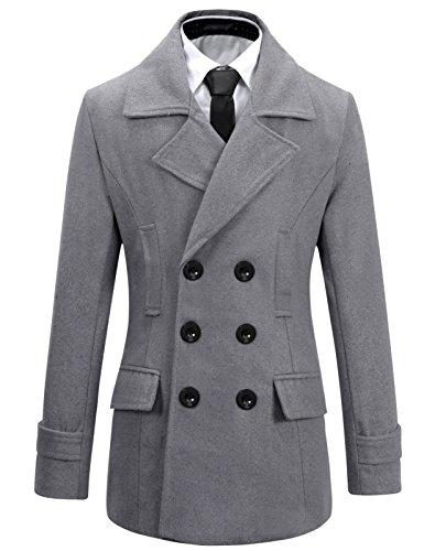 Beninos Mens Wool Slim Fit Double Breasted Half Trench Coat (0051, Grey, L)