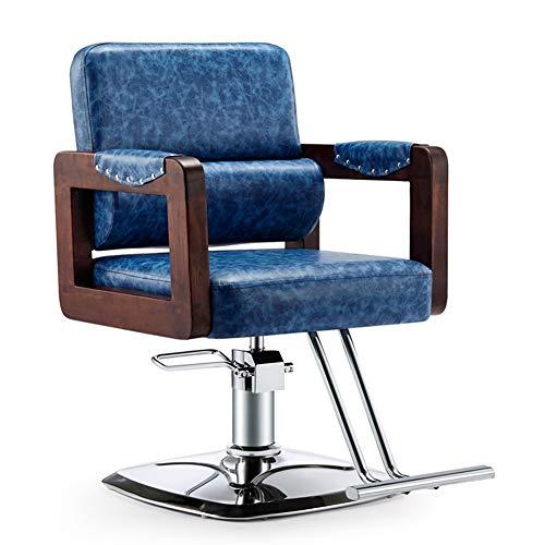 MYYU Sillas De Peluquería Cuero PU Impermeable Sillón Barbero, Silla De Peluquería Hidráulica Sillas De Barbero Barber Chair, para SPA Belleza,Azul
