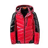 NSYRF Invierno Hombres Chaqueta Casual Parka Brillante Cuero Outwear Outwear Impermeable Flower Soporte Cuello Cuello Outwear Abrigo (Color : Red, Size : XXXXXXX-Large)