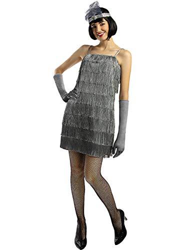 Funidelia   Disfraz de charlestón años 20 Plateado para Mujer Talla S ▶ Años 20, Cabaret, Gángster, Décadas - Color: Gris / Plateado - Divertidos Disfraces y complementos