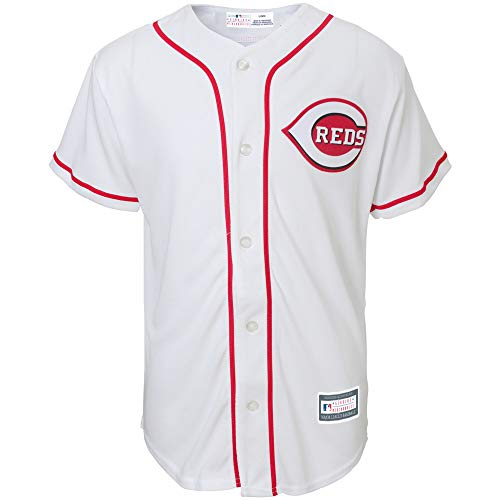 Outerstuff MLB Youth 8-20 Blank Cool Base Home Color Team Jersey (Medium 10/12, Cincinnati Red's Home White)