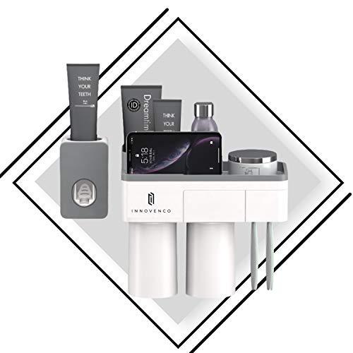 Automático 2 taza gris Pasta de dientes Dispensador muralla colocar eléctrico antipolvo...