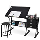 Tangkula Drafting Desk Drawing Table Adjustable with Stool and Drawers Black