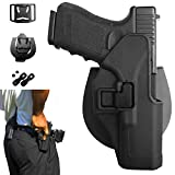 Gun Holster OWB Pistol Paddle Tactical Active Waistband Belt Loop Quickdraw CQC Concealment for Glock 17 18c 19 19x 26 27 28 31 32 33 44 45 (Gen 1-5) with Adjustable Retention and Cant