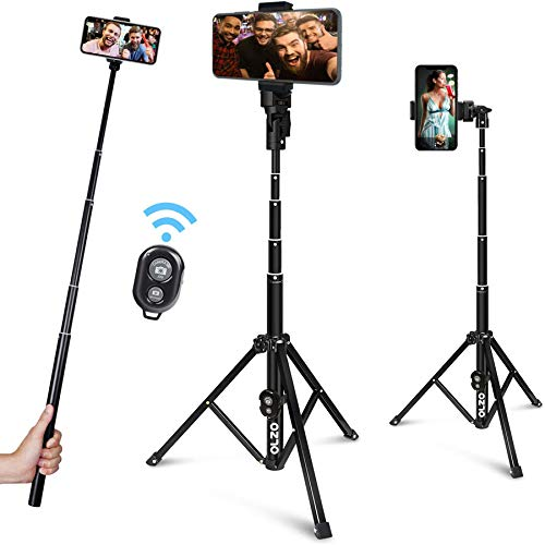 OlzO 52-inch Selfie Stick Tripod, Detachable and Extendable Phone Tripod for Cell Phone, Compatible with iPhone and Android Phone, Includes Wireless Remote, Cell Phone Holder