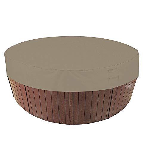 HEWYHAT Runde Whirlpoolabdeckung, wasserdichte, 100% UV- und wetterbeständige runde Spa-Abdeckung mit elastischen und Lufttaschen für eine angenehme Atmosphäre,Beige,200×30cm