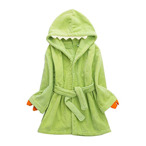 Accappatoi per Bambini con Cappuccio Ragazzi Ragazze Pigiama per Infantile 6-8 Anni Verde