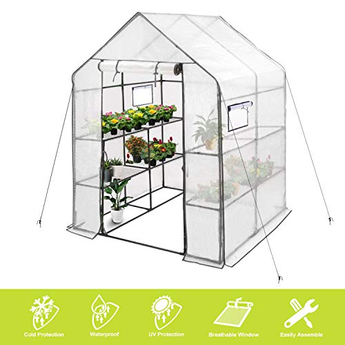 "Deluxe Green House 56"" W x 56"" D x 77"" H,Walk in Outdoor Plant Gardening Greenhouse 2 Tiers 8 Shelves - Window and Anchors Include(White)"
