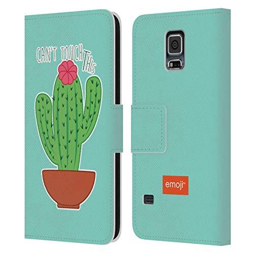Head Case Designs Oficial Emoji No se Puede Tocar Esto Cactus Y Piña Carcasa de Cuero Tipo Libro Compatible con Samsung Galaxy S5 / S5 Neo