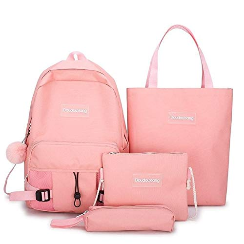 4 pcs Sets Nylon Schoolbags Teenage Girl Boys Fashion Men Women Backpack,Laptop School Bags Shoulder Bag