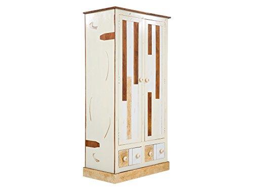 massivum Kleiderschrank Charley 90x180x50 cm Mango weiß lackiert