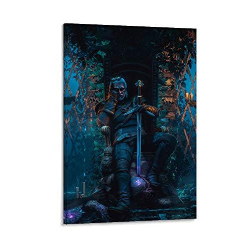 Witcher 3 Tapete, Leinwand-Kunst-Poster und Wandkunstdruck, modernes Familienschlafzimmerdekor, Poster, 30 x 45 cm