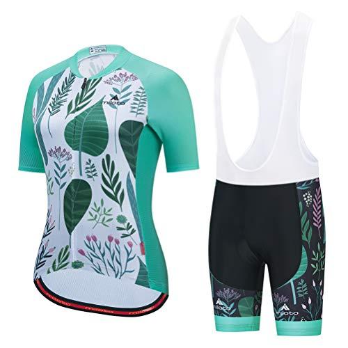 Uriah Women's Cycling Jersey Bib Shorts Set White Short Sleeve Breathable Green Leaf Size XXL(CN)