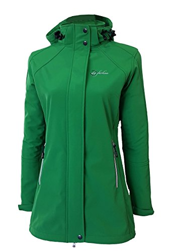 Dry Fashion Damen Softshell Mantel Sylt Regenmantel Parka Funktionsmantel Kapuze, Farbe:grün, Größe:38