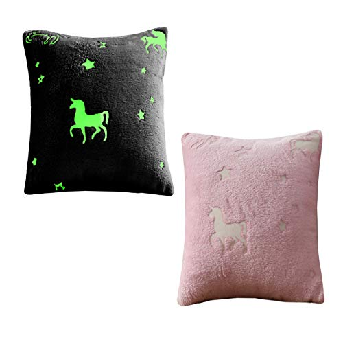 Goldstar Glow in The Dark Teddy Fleece Unicorn Pink Duvet Cover Kids Girls Bedding Set Cosy Warm with Pillow Case (Single)