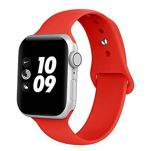 Adepoy kompatibel Apple Watch Armband, Sport Wasserdicht Silikon Ersatzarmband für iWatch 44mm 38mm 42mm 40mm Series 5/4/3/2/1 (38MM Rot L)