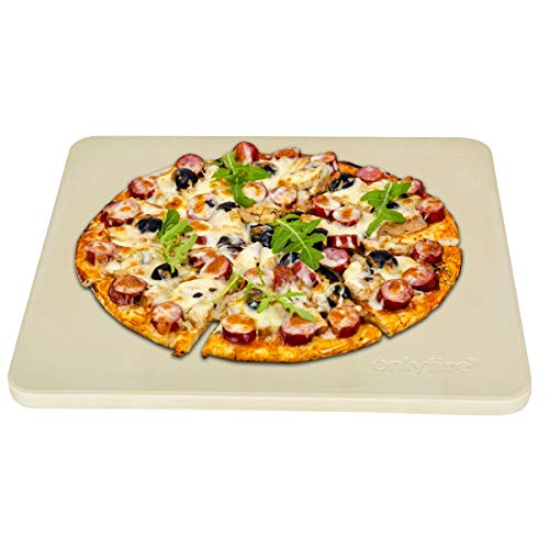 "Onlyfire Heavy Duty Ceramic Pizza Grilling Stone, 14"" x 16"" Rectangular Baking Stone for Best Crispy Crust Pizza, Perfect for Oven, BBQ and Grill, Thermal Shock Resistant"