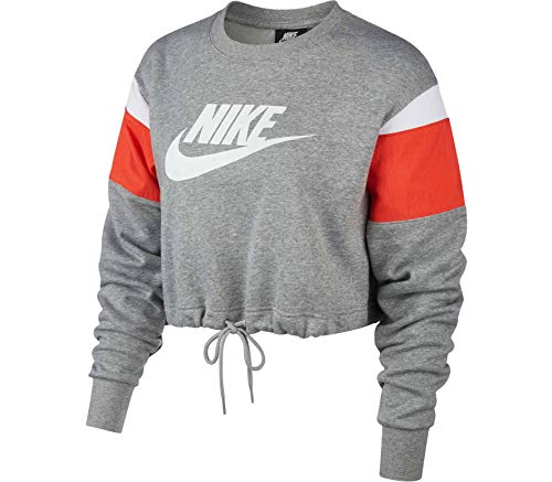 Nike NSW Heritage Crew Fleece SB Dark Grey Heather/Track Red/White/White LG