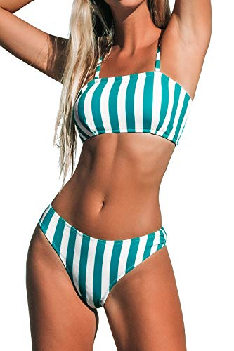 CUPSHE Women's Bandeau Blue and White Striped High Leg Cut Bathing Suit, XS