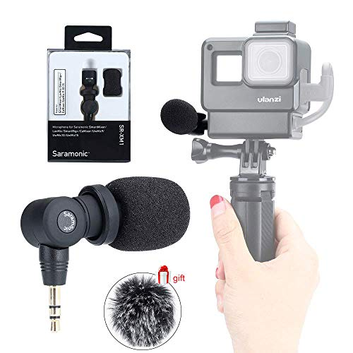 Saramonic SR-XM1 3.5mm Vlog Micrphone for Gopro Hero 7 6 5, Wireless Video Mic Compatible for DSLR Camera, Sony RX Series, iPhone 7 7s 8 x Plus 6 6s iPad and Android Phone Recording Filming