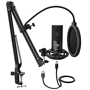 FIFINE Studio Condenser USB Microphone Computer PC Microphone Kit with Adjustable Scissor Arm Stand Shock Mount for Instruments Voice Overs Recording Podcasting YouTube Karaoke Gaming Streaming-T669 from FIFINE