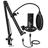 FIFINE Studio Condenser USB Microphone Computer PC Microphone Kit with Adjustable Scissor Arm Stand Shock Mount for Instruments Voice Overs...