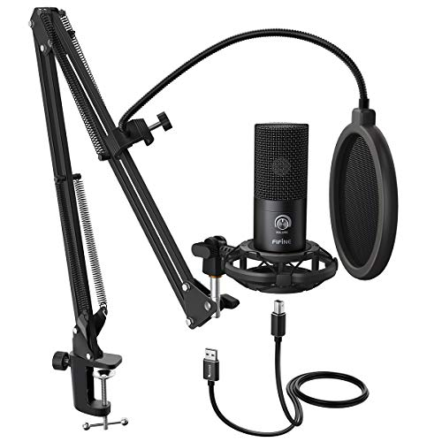 FIFINE Studio Condenser USB Microphone Computer PC Microphone Kit with Adjustable Scissor Arm Stand...