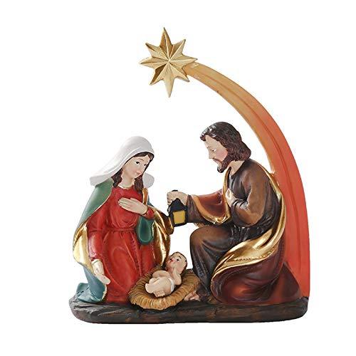 XY&YD La Sagrada Familia San José,Comer Estatua De Nacimiento De Jesús,La Virgen María con Decoración Religiosa De Mesa,Católica Resina Estatua De La Natividad-Un 12 * 14 * 5cm