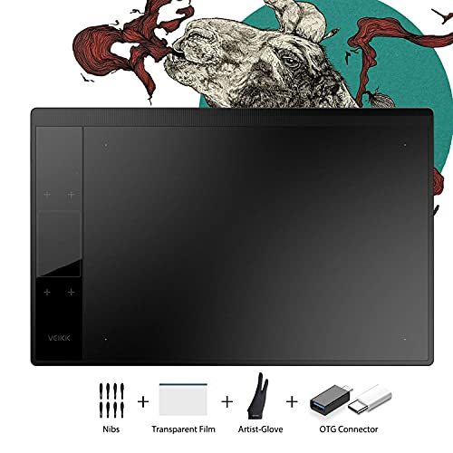 VEIKK A30 V2 10x6 inch Graphic Drawing Tablet Digital Pen Tablet with 8192 Levels Battery-Free Pen, 4 Touch Keys and a Touch Pad ,Compatible with Windows & Mac & Android OS