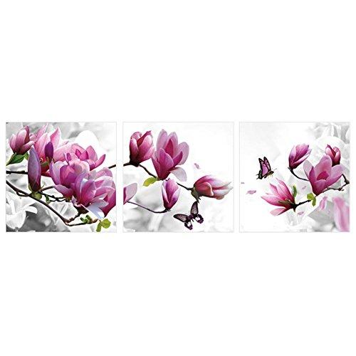 Cuadro decorativo para pared con diseño de flores de magnolia púrpura, 3 unidades