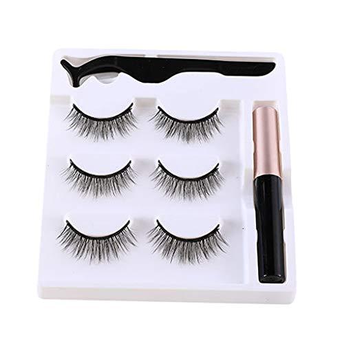 dailymall 5 pièces Eyeliner Faux Cils Magnetique Réutilisables avec Kit de Outils - Imperméable - M12 Durable