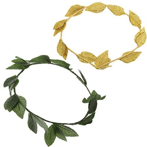 P Prettyia 2 Unids Diadema de Pelo Nupcial Gurinalda de Hojas Laurel Artificial Corona de Diosa Romana Joyas para Mujer