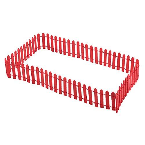 #N/A Zoomne Holz Miniatur Gartenzaun Mini Streikposten Zaun Micro Landschaft Zubehör für DIY Handwerk,rot