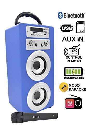 DYNASONIC Altavoz Bluetooth con modo Karaoke y Micrófono (color Azul)