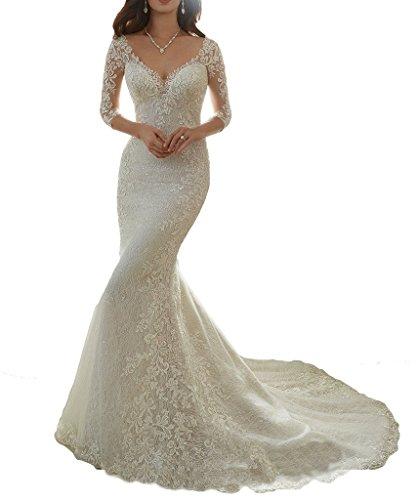 NUOJIA Lange Meerjungfrau Hochzeitskleider Spitze Brautkleid mit Hülsen 2017 Weiß 38