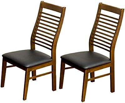 家具の赤や ダイニングチェア 完成品 2脚 セット 天然木 PVC ハイバック ラツィオ ダイニングチェアー (ブラウン)