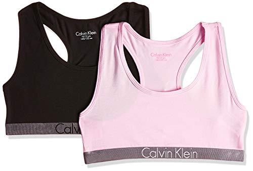 Calvin Klein Mädchen 2 Pack Bralette Bustier, Mehrfarbig (1 Black / 1 Unique 037), 164 (Herstellergröße: 14-16)
