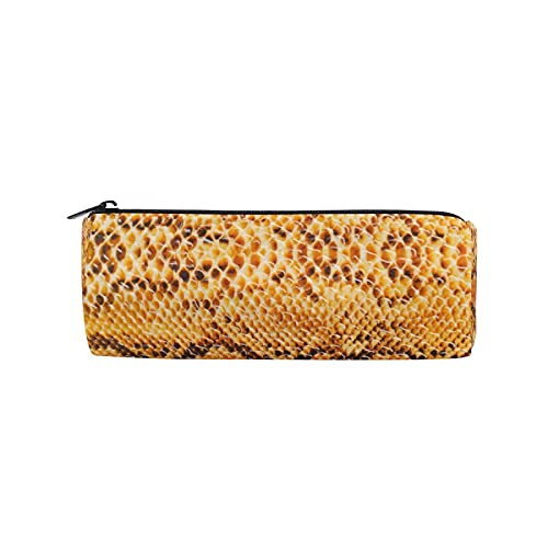 JNlover - Estuche para lápices con estampado de piel de serpiente de animales para adolescentes, niños, oficina