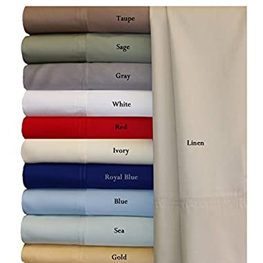 100% Bamboo Bed Sheet Set - King, Solid Blue - Super Soft & Cool, Bamboo Viscose, 4PC Sheets